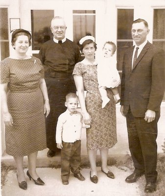 Fr. James Clancy with two of Our Lady of the Valley's founders Evelyn Louise and John W. Vlkojan.The picture is dated 1958-60