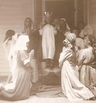 The children of Our Lady of the Valley perform a Christmas pageant The date of the picture in unknown
